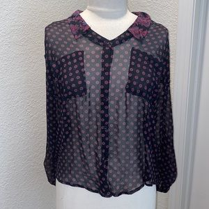 Free People Button Down Sheer Floral Shirt Sz M